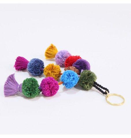 Handmade pompom keychain.