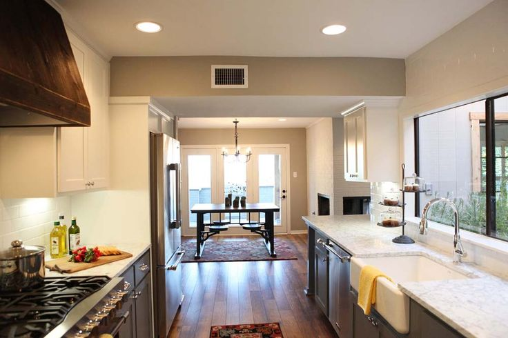 White And Grey Galley Kitchen fixer upper | galley kitchens, upper cabinets and small galley