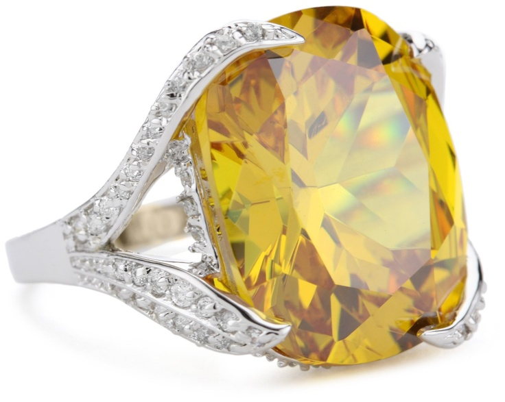 Canary Cubic Zirconia Ring, Size 7
