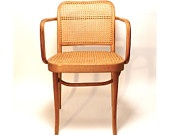 Vintage Thonet Bentwood Chair 2 ... Cane Seat, Authentic, Blonde Wood, Armchair