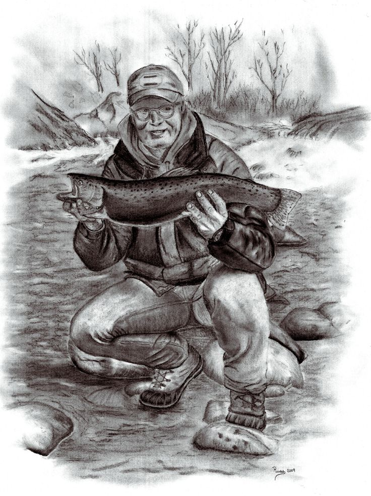 Charcoal Drawings of Fish and Fishing | Charcoal Drawings and Pastels