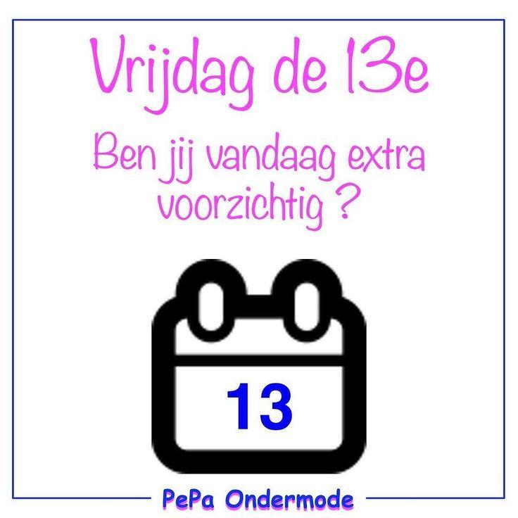 Het is vandaag vrijdag de 13e. Ben jij vandaag extra alert of geloof je er niet in?  #pepaondermode #vrijdagde13e #bijgeloof #onzin