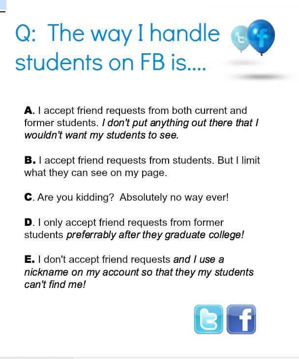 should teachers and students be friends on facebook essay Should students and teachers be friends on facebook one toronto police officer says it could be beneficial.
