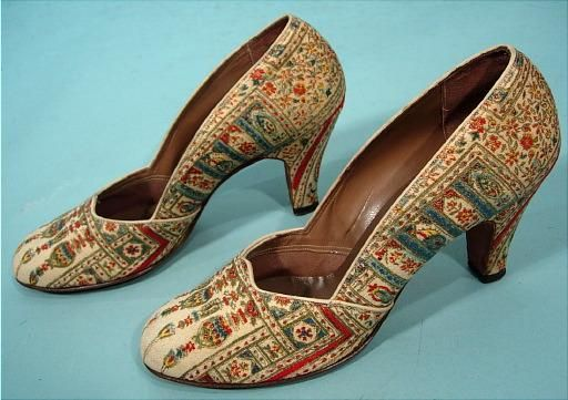 c. 1930's Laird Schober & Co Tapestry Persian Motif Pumps