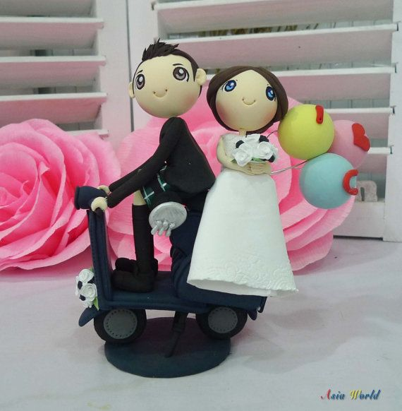 Vespa wedding groom in kilt wedding cake topper clay doll,clay couple in navy blue wedding theme ILoveyou balloons clay miniature, keepsake on Etsy, $107.50