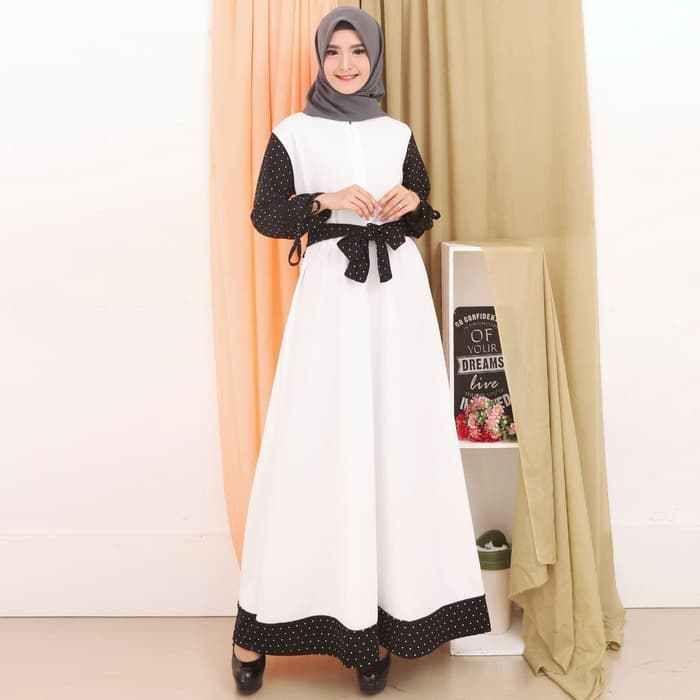 Model Gamis Warna Putih Kombinasi Fashion Dresses Model