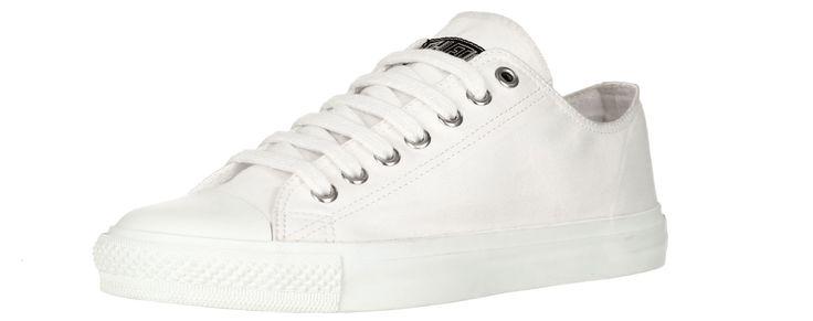 Flacher, durchgängig weißer Sneaker aus Canvas-Stoff. Die Schuhe aus der Ethletic »Collection« Serie haben eine 7-Loch-Schnürung mit Metall-Ösen. Das Gummi der Sohle (Naturkautschuk) stammt aus einer FSC zertifizierten,...