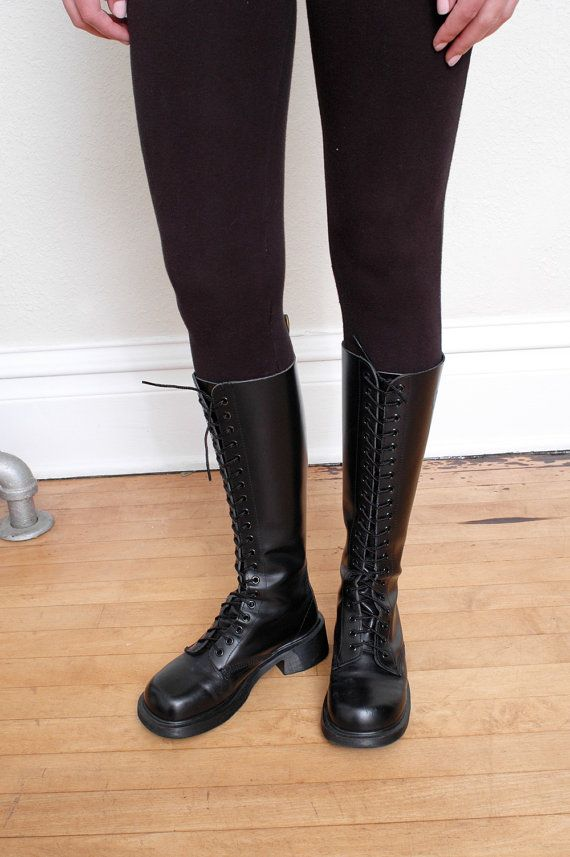 90s Dr Martens Airwair Knee High Black Leather Boots Size Us 7 Uk 5 Eur 38 Style Pinterest