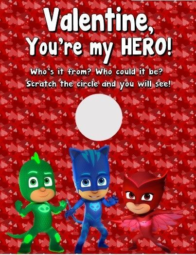 PJ Masks Kids Valentine's Day Scratch Off Cards Favors Personalized