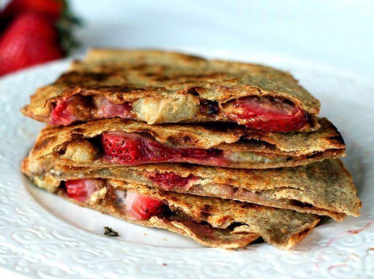 Peanut butter, Strawberry, & Banana Quesadillas from ambitiouskitchen.com