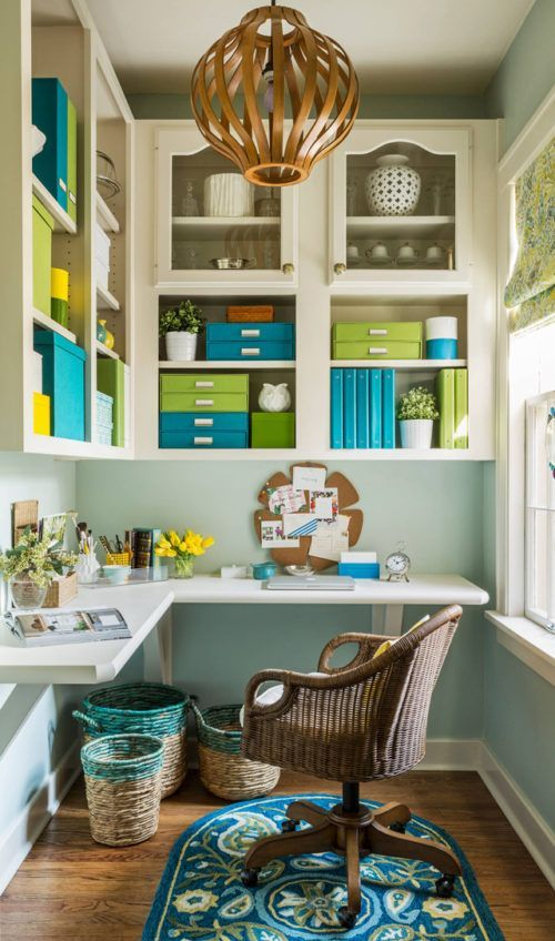 The natural light really makes these lime and turquoise accents pop. I love how all the colors are uniform and hide the paperwork or office clutter. Inspiring Home Office Decor Ideas for Her on Frugal Coupon Living.