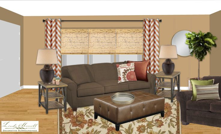 A warm and cozy family room for a virtual design client. Design and rendering by Linda Merrill. #virtual #design #edecor #edesign #family #room #orange #terracotta #chevron #brown #leather