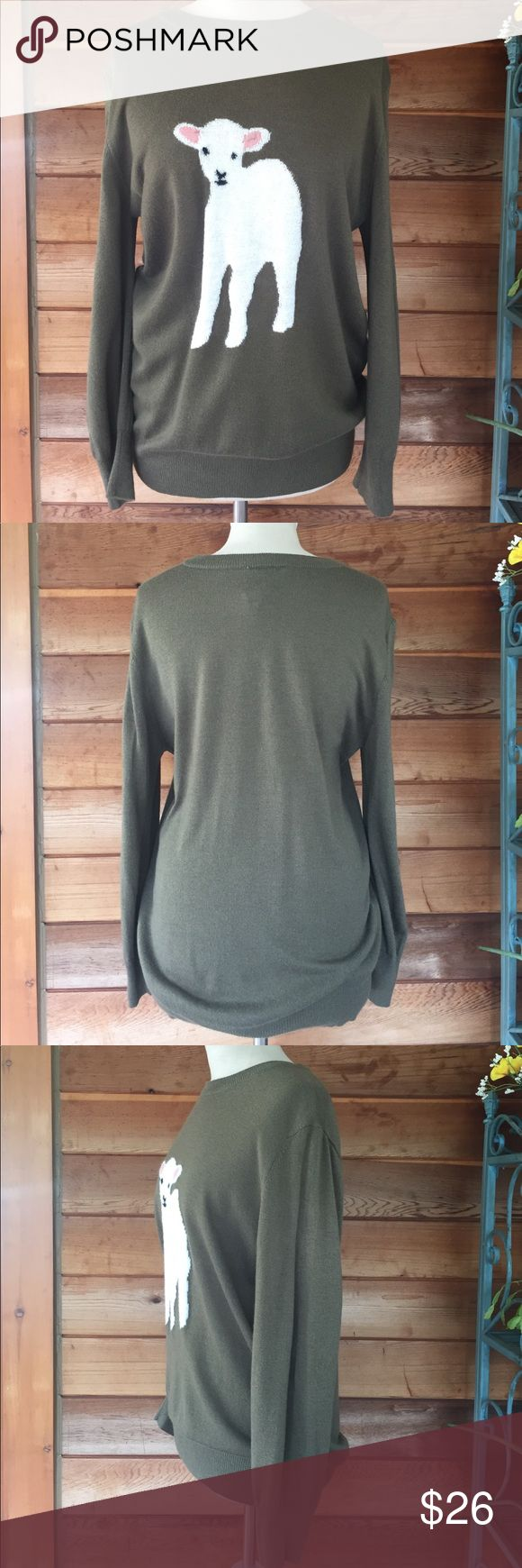 Peter Jensen Olive Green Wool Blend Sweater Super cute olive green soft lightweight sweater by Peter Jensen for Nordstrom. How sweet is that little lamb?? ♥️ size large; loose but flattering fit. Never worn; like new condition. Perfect for the upcoming fall season or beginning of spring! But you can wear it whenever you want! 😊 Peter Jensen Sweaters Crew & Scoop Necks