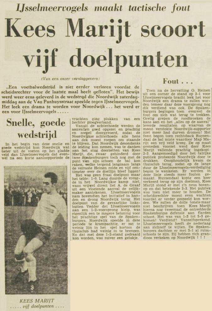 Een wedstrijdverslag van de wedstrijd Noordwijk - IJsselmeervogels (5-3), gespeeld in 1963. Krant: Leidsch Dagblad