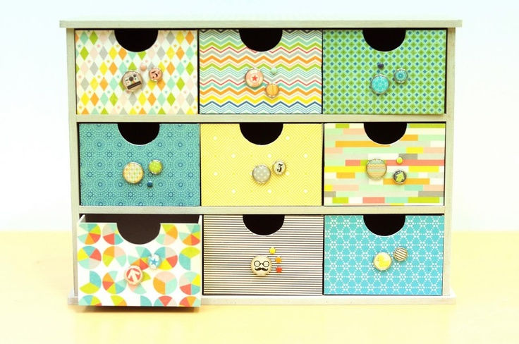 Kaisercraft Storage Drawers made with paper and embellishments from the October Afternoon Midway range. This would be an awesome school holiday project!