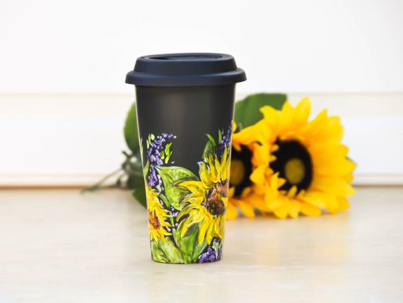 Personalized  Ceramic Travel Mug - Sunflower Cup Yellow and Black  - Hand Painted Porcelain Eco Cup - Black Silicon Lid