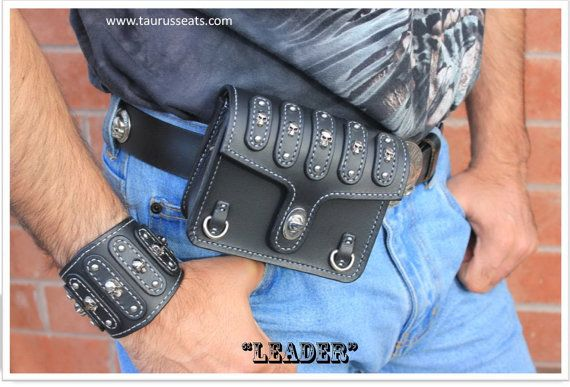 Belt Pouch Bikers Accessory with Skull Rivets and by TaurusSeats