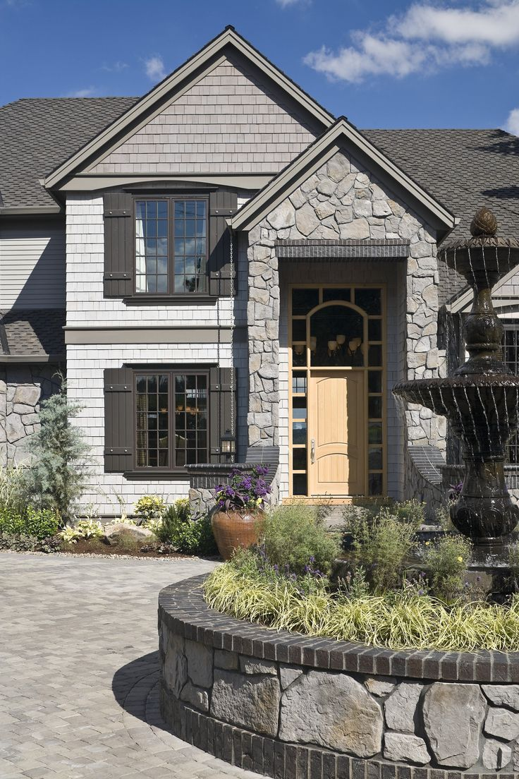 wow a charming home with dark gray shutters and light on modern house designs siding that look amazing id=74829
