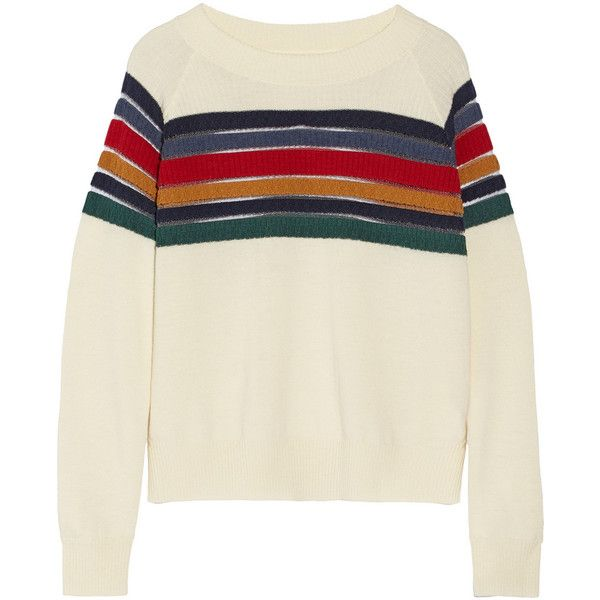 Band of Outsiders Striped wool sweater (€155) ❤ liked on Polyvore featuring tops, sweaters, jumpers, shirts, ivory, striped shirts, long sleeve shirts, brown sweater, stripe shirt and long shirt