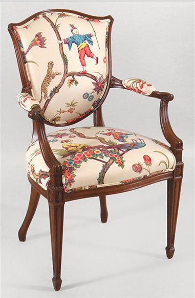Charming Minton Spidell Mahogany Shield Back Open Armchair Upholstered In Scalamandre  Chinoiserie Exotique