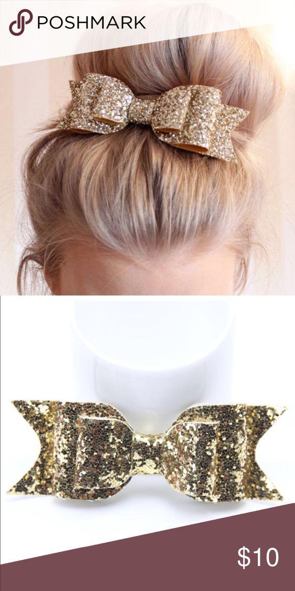 Glam Gold Glitter Bun Bow Dance Cheerleader Hair Glam gold glitter hair bow. Looks great when worn on a high bun. Boutique Accessories Hair Accessories