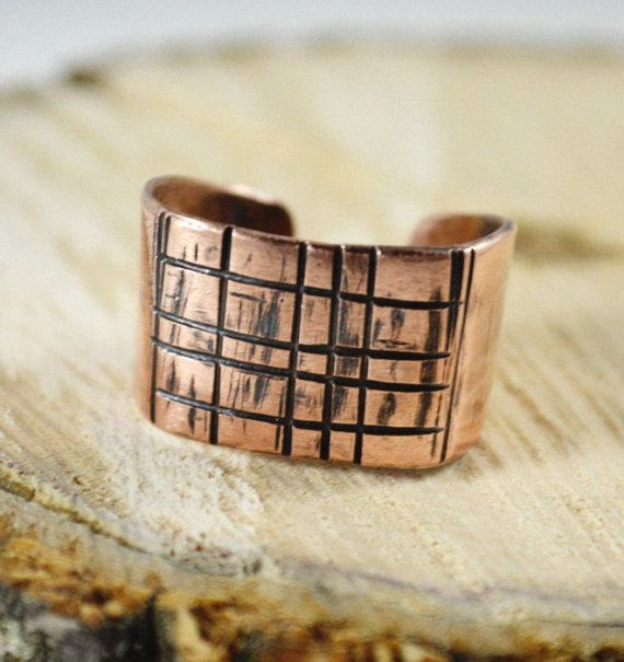 Male handmade signet ring copper plate carved formula