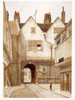 The watercolour depicts a view of Bleeding Heart Yard, Saffron Hill, Holborn. Dickens described it in Little Dorrit Chapter 13 on the south side of Charles Street, Hatton Garden. by James Lawson Stewart c. 1890