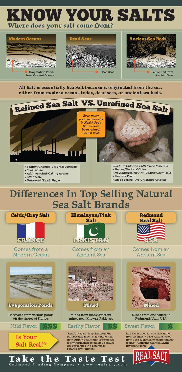 Know Your Salts infographic by Real Salt.   MakeSauerkraut.com