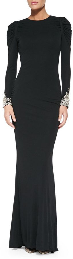 $3,867, Black Evening Dress: Alexander McQueen Long Sleeve Gown With Crystal Cuffs. Sold by Neiman Marcus. Click for more info: https://lookastic.com/women/shop_items/83276/redirect