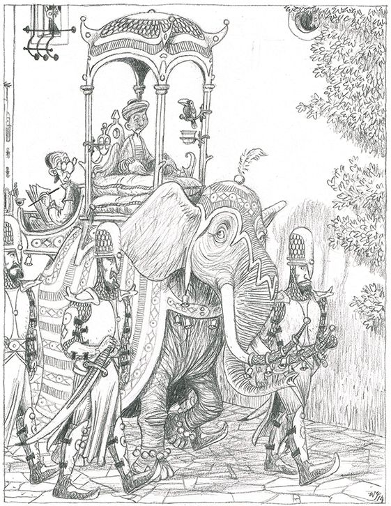 This is a panel from the story: the lonely sultan.