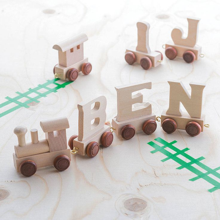 1772 best wood toys images on pinterest wood toys wooden toys personalised wooden name train negle Gallery