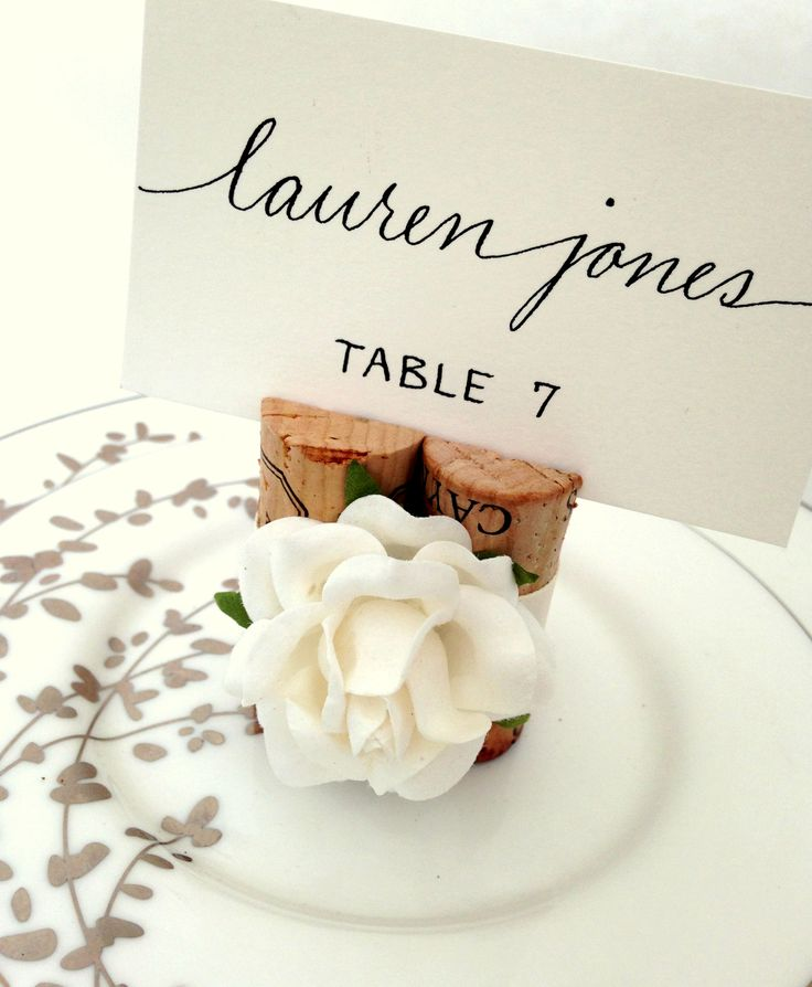 premium rose place card holder wrapped in satin ribbon wedding table