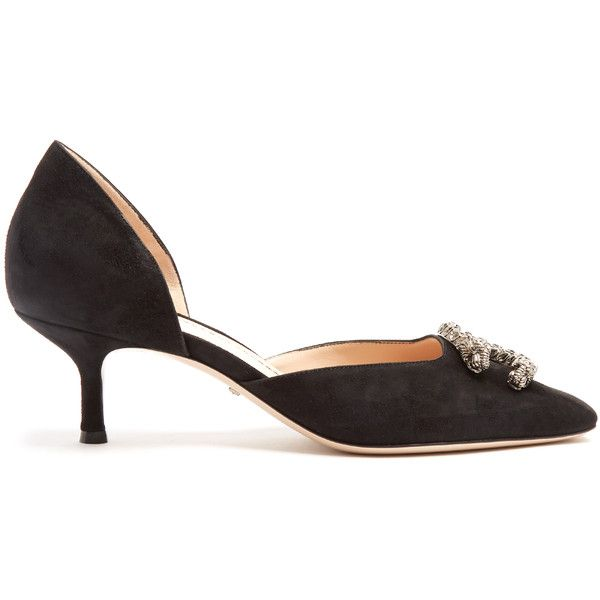 Gucci Dionysus kitten-heel suede pumps (€780) ❤ liked on Polyvore featuring shoes, pumps, black, suede kitten heel pumps, 1920s shoes, black kitten heel shoes, roaring 20s shoes and gucci shoes
