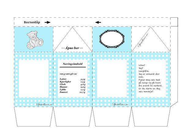 Mal til melkekartong-bordkort til dåp
