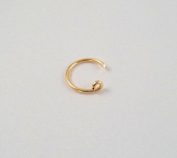 14K Gold Fake Nose Ring - Gold Fake Nose Ring - Gold Faux Nose Ring - Clip on Nose Ring - hoop nose ring - nose ring hoop