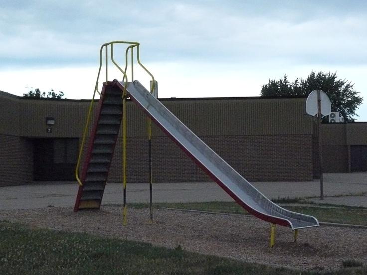 Used Metal Playground Equipment : Old school playground equipment metal slide remember