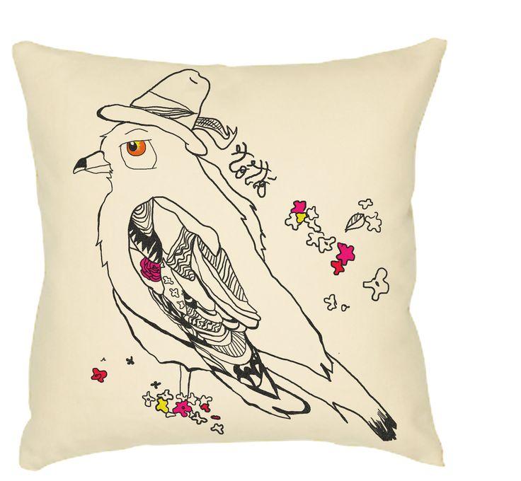 Cuscino fodera Uccello fantasia dipinto a mano : Tessili e tappeti di totto-by-design