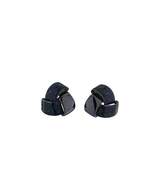 Green & Black Rhodium Knot Stud Earrings