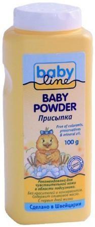 Babyline Присыпка babyline, 100 гр  — 163р. -------------------- Рекомендуемый возраст: 0мес-1год Рекомендована для чувствительной кожи в области подгузника. Без красителей и консервантов. .  - Содержит оливковое масло и аллантоин.  - Детская присыпка Babyline мягко заботится о нежной коже ребенка.  - Поглощает влагу и идеальна для чувствительной кожи в области подгузника.  - Проверено дерматологами