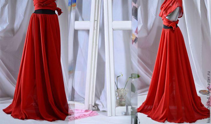 """Купить Юбка-солнце """"Че"""" - ярко-красный, юбка-солнце, юбка длинная, юбка в пол"""