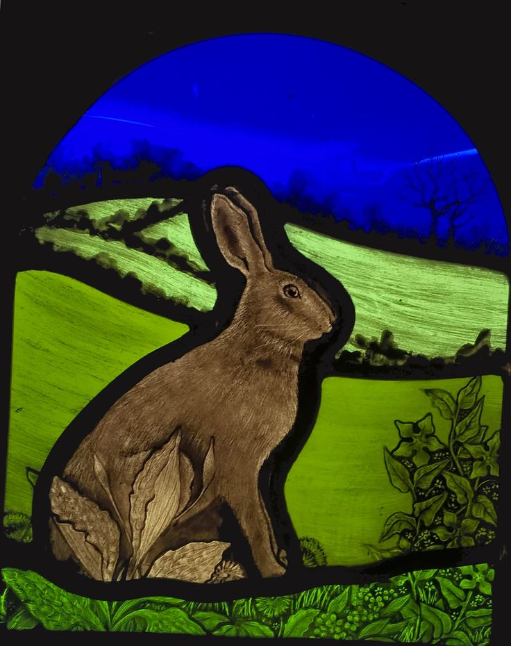 Stained glass hare designed and made by Sarah Roberts Stained Glass Art.