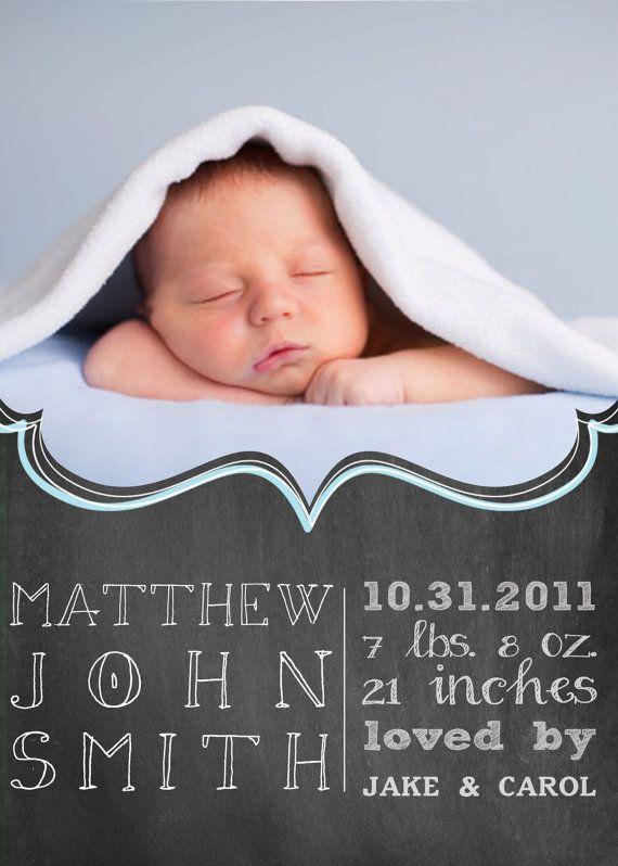Chalkboard Birth Announcement Cards  baby girl by gwenmariedesigns, $15.00