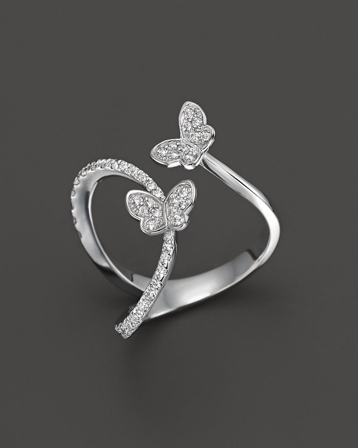 Diamond Butterfly Ring in 14K White Gold, .40 ct. t.w. | Bloomingdale's