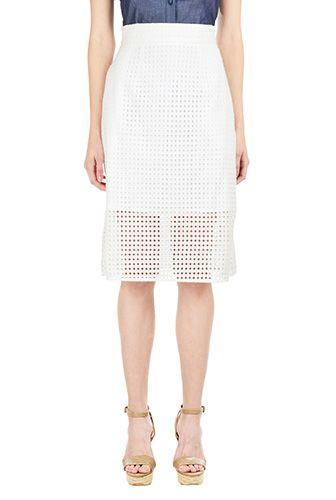 I <3 this Graphic eyelet cotton flared skirt from eShakti