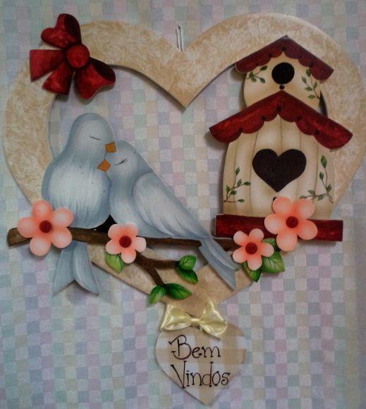 Guirlanda g casal passarinho coração
