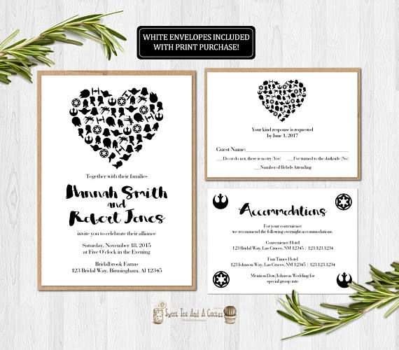 Star Wars Wedding Invitation Suite Elegant And Nerdy The Perfect Way Printable Wedding Invitations Star Wars Invitations Wedding Invitation Wording Templates