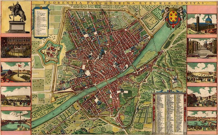 Antique map of Florence by Van der Aa P. | Sanderus Antique Maps