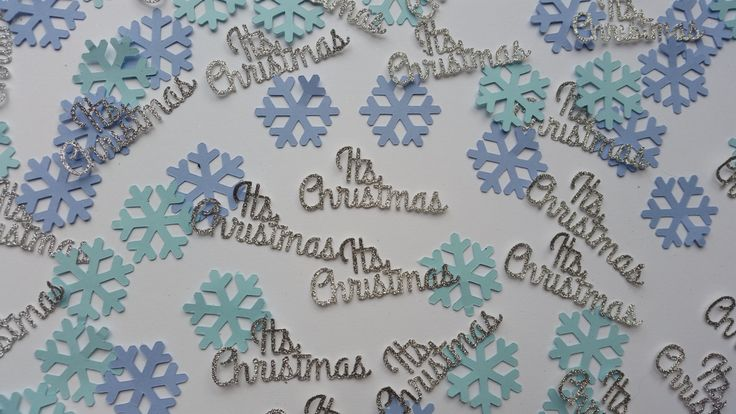 Silver glitter Its  Christmas confetti. Christmas & snowflake table confetti, cake decs, invite fillers. Turquoise and blue snowflakes by Garlandsandgifts on Etsy