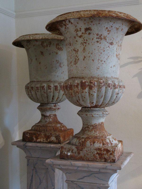 19th Cent English Cast Iron Urns