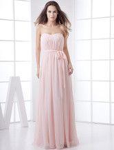 Vestido damas rosa de gasa estilo imperio sin tirantes hasta el tobillo - Milanoo.com